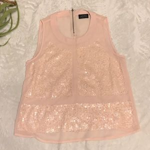 ASTR | Sleeveless Pink Chiffon Blouse w/ Sequins L